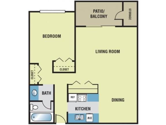 1 Bedroom / 1 Bath - 650 Sq. Ft. Floor Plan Image - A1