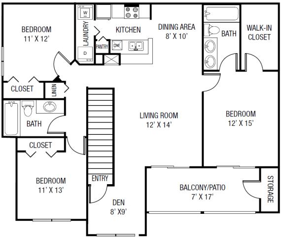 Floor Plan  The Wacissa Floor plan - 3 Bedrooms 2 Baths + Den 1,543 Sq. Ft.