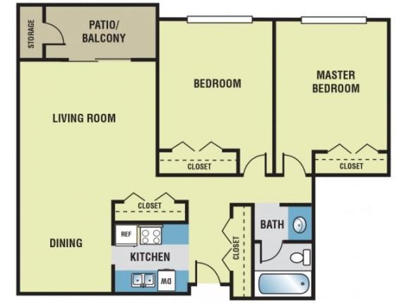 2 Bedroom / 1 Bath - 850 Sq. Ft. Floor Plan Image - B1