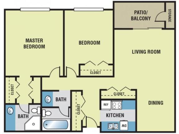 2 Bedroom / 2 Bath - 950 Sq. Ft. Floor Plan Image - B2