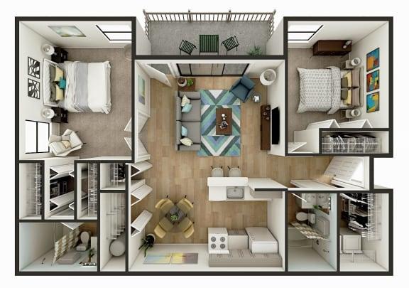 2 Bedroom 1 Bath Floor Plan Image - The Del Mar