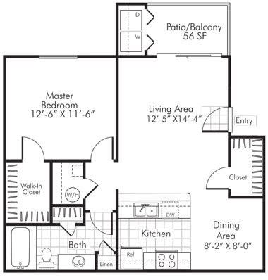 1 Bedroom X 1 Bath - 734 Sq. Ft. Floor Plan - A1Partly Renovated