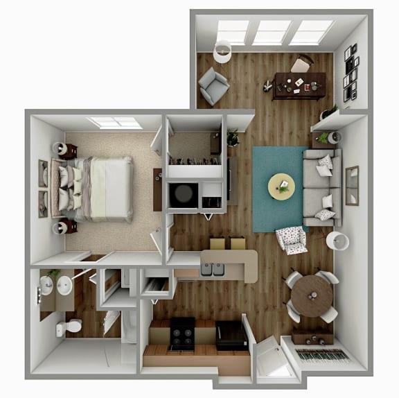 A2 - 1 Bedroom 1 Bath with Sunroom Floorplan Image