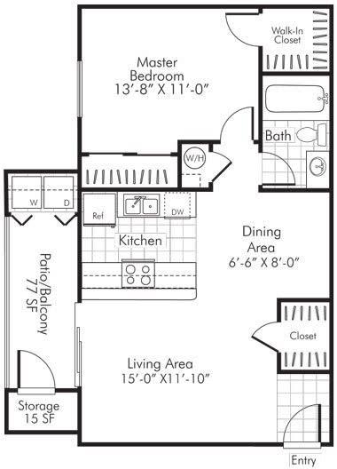1 Bedroom X 1 Bath - 740 Sq. Ft. Floor Plan - A2