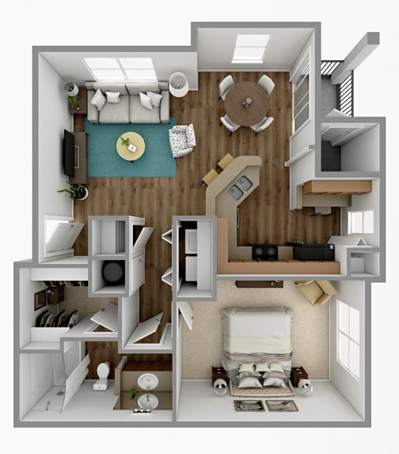 Floor Plan  A3 - 1 Bedroom 1 Bath Floorplan Image