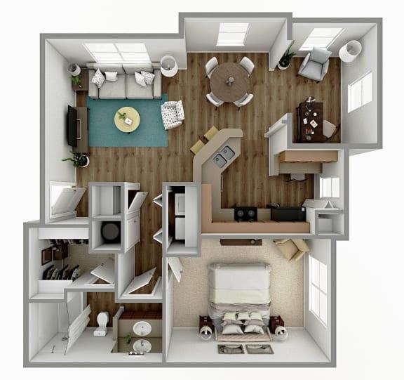 Floor Plan  A4 - 1 Bedroom 1 Bath  with Sunroom Floorplan Image