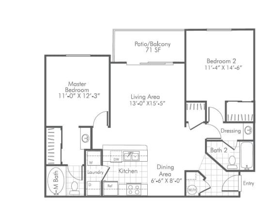 2 Bedroom X 2 Bath - 960 Sq. Ft. Floor Plan - B1 - Partly Renovated