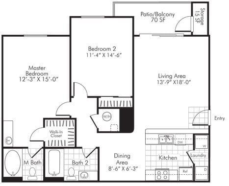 2 Bedroom X 2 Bath - 1,121 Sq. Ft. Floor Plan - B2