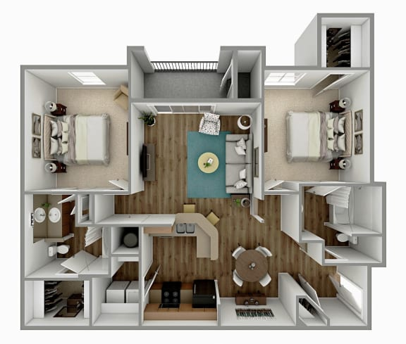 Floor Plan  B1 - 2 Bedroom 2 Bath Floorplan Image