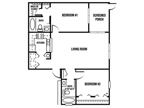 Floor Plan  B1 - 2 Bedroom / 2 Bath - 1,065 Sq. Ft. Floor plan Image