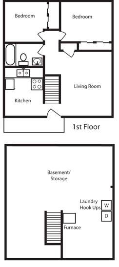 Floor Plan  2 Bedroom 1 Bath Floor Plan at Aspen Townhomes, Colorado Springs, CO, 80909