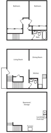 Floor Plan  2 Bedroom 1.5 Bath Floor Plan at Aspen Townhomes, Colorado Springs, CO