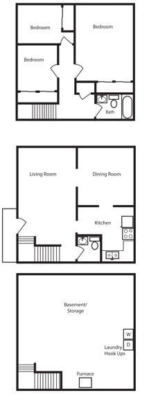 Floor Plan  3 Bedroom 1.5 Bath Floor Plan at Aspen Townhomes, Colorado Springs, Colorado