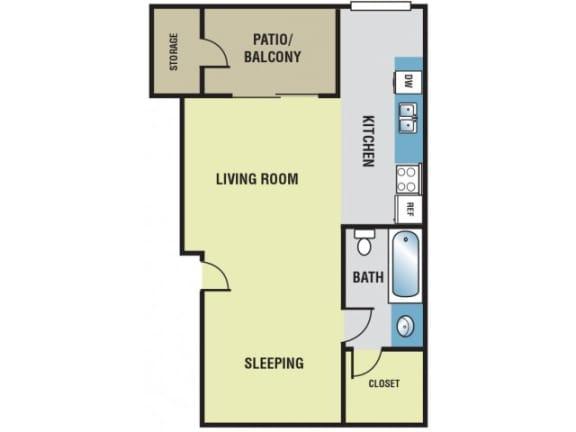 Studio / 1 Bath - 450 Sq. Ft. Floor plan image - S