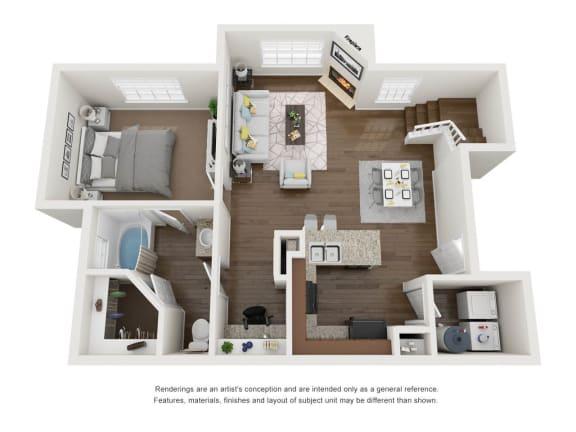 Floor Plan  1 Bedroom  1 Bathroom 3D Floor Plan A