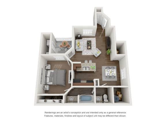 Floor Plan  1 Bedroom  1 Bathroom 3D Floor Plan B