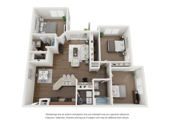 Floor Plan  3 Bed 2 Bath 3D Floor Plan