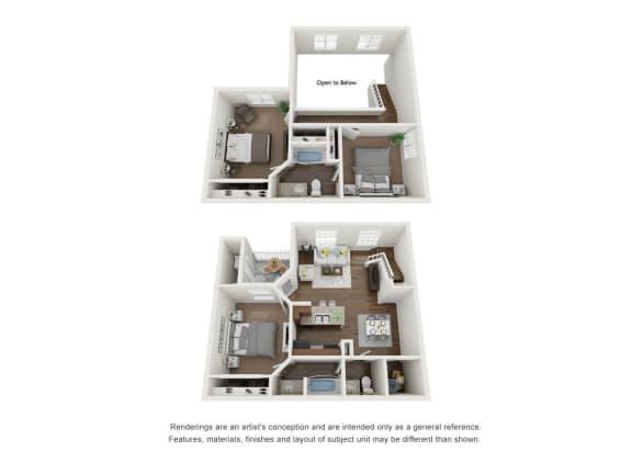 Floor Plan  3 Bed 2 Bath Townhome 2 Floors3D Floor Plan