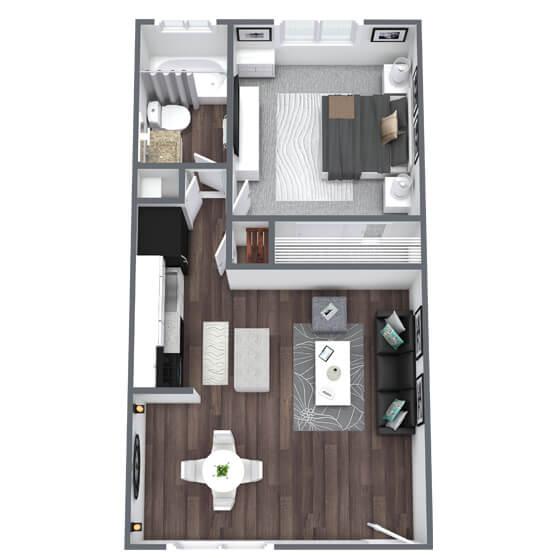 Regency Floor Plan 1-Bed, 1-Bath 450SQFT