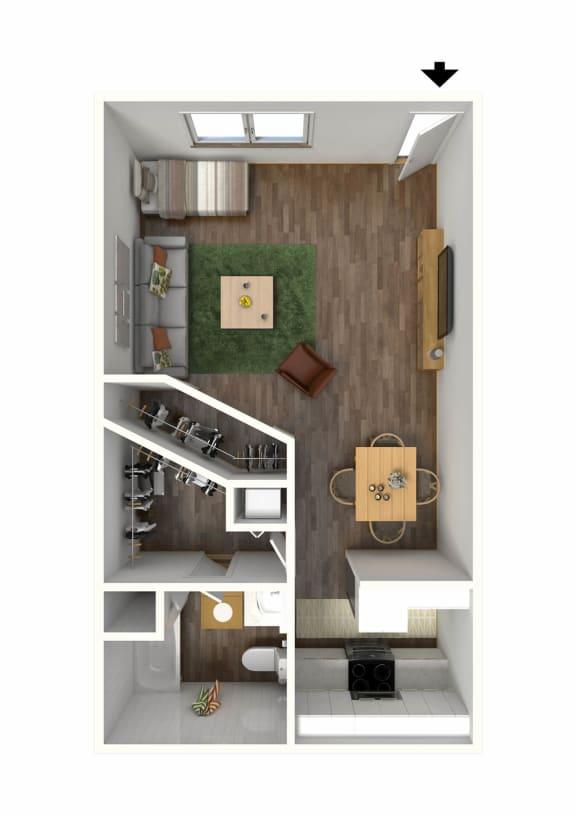 Floor Plan  Studio1 3D Floor Plan Staged