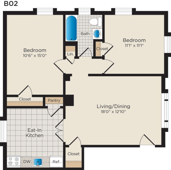 Floor Plan  B02lm (Income Restricted)