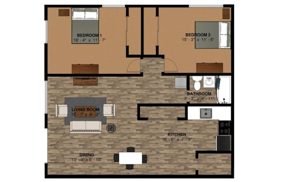 The Lodge 980 sq ft 2 Bedroom