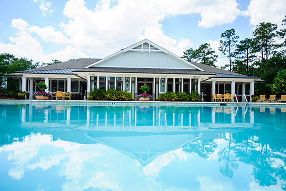 Community Clubhouse With Swimming Pool at The Reserve at Mayfaire, North Carolina