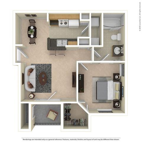 A1 One Bed One Bath 679 Sq ft Floorplan at Mariposa Villas, Dallas