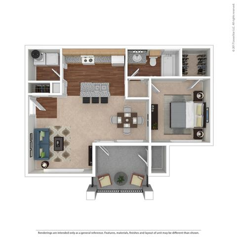 A1 1 Bedroom 1 Bath Floor Plan at Huntington Ridge  Apartments,CLEAR Property Management, DeSoto