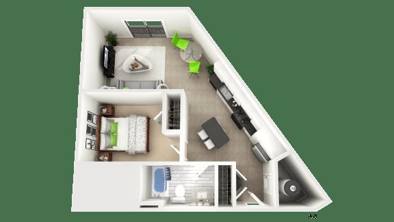 1 Bedroom Floor Plan at Apex Apartments, Arlington, VA