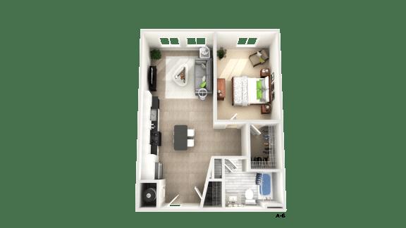1 Bedroom Floor Plan at Apex Apartments, Arlington, 22206