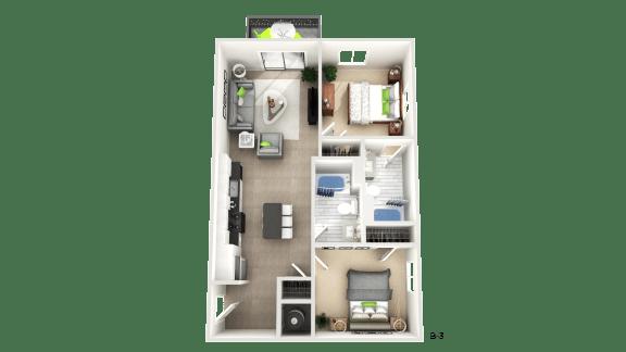 Floor Plan  Two Bedroom Floor Plan  at Apex Apartments, Arlington, VA, 22206