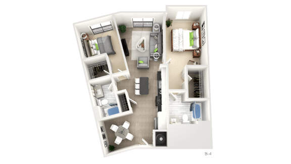 2 Bedroom Floor Plan at Apex Apartments, Arlington