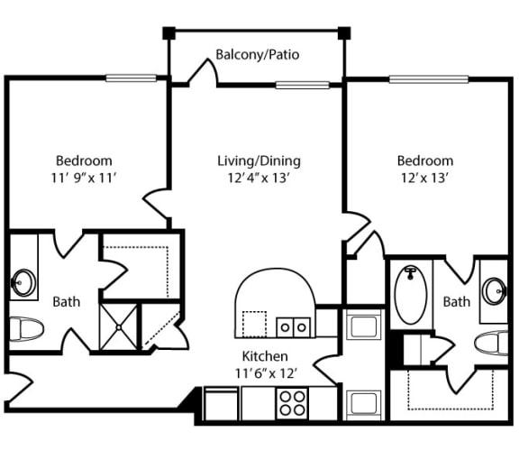 Floor Plan  Howard-2x2-957 sq ft