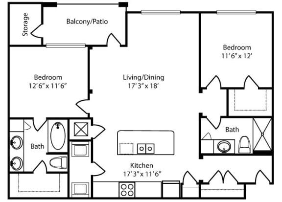 Floor Plan  Mayfair-2x2-1183 sq ft