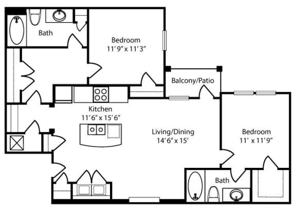 Floor Plan  Morris-2x2-1097 sq ft