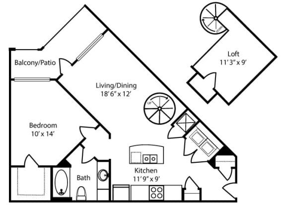Floor Plan  Oxmoor-Loft-1x1-917 sq ft