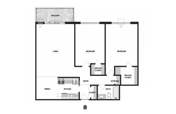 Floor Plan  Villages on McKnight Apartments in North St. Paul 2 Bedroom 1 Bath