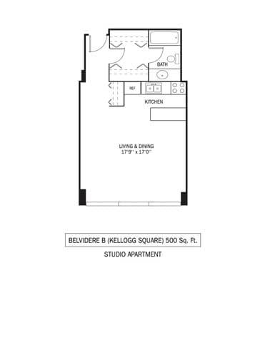 Kellogg Square Apartments in St. Paul, MN Studio Apartment