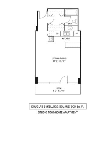 Kellogg Square Apartments in St. Paul, MN Townhouse Studio Apartment