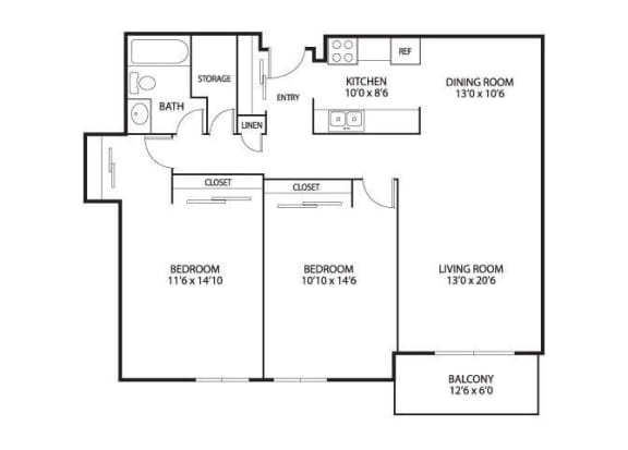 Floor Plan  The Edina Towers Apartments in Edina, MN 2 Bedroom 1 Bath