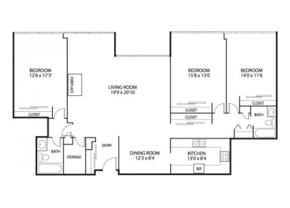 The Edina Towers Apartments in Edina, MN 3 Bedroom 2 Bath Penthouse