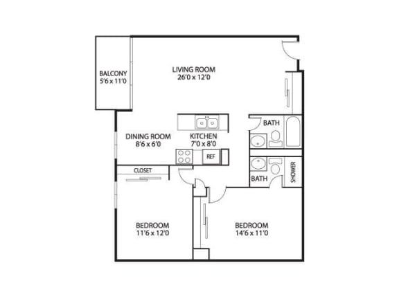 The Edina Towers Apartments in Edina, MN 2 Bedroom 2 Bath