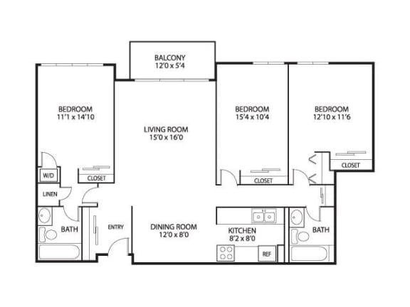 The Edina Towers Apartments in Edina, MN 3 Bedroom 2 Bath
