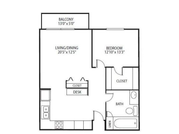 Floor Plan  Cedars Lakeside Apartments in Little Canada, MN 1 Bedroom Apartment Birch Floor Plan