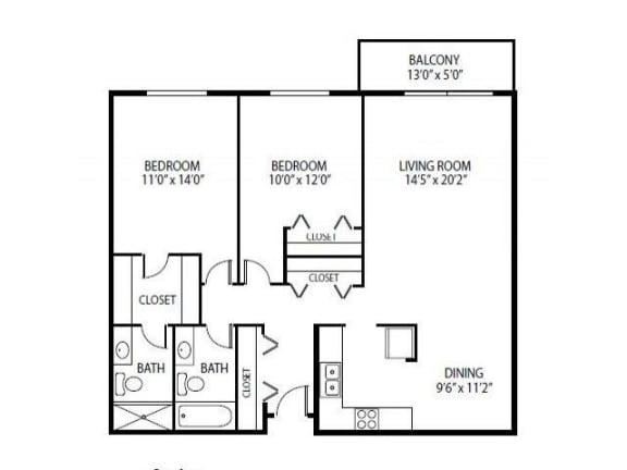 Floor Plan  Cedars Lakeside Apartments in Little Canada, MN 2 Bedroom Apartment Cedar Floor Plan