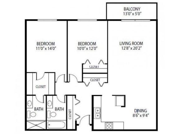 Floor Plan  Cedars Lakeside Apartments in Little Canada, MN 2 Bedroom Apartment Magnolia Floor Plan