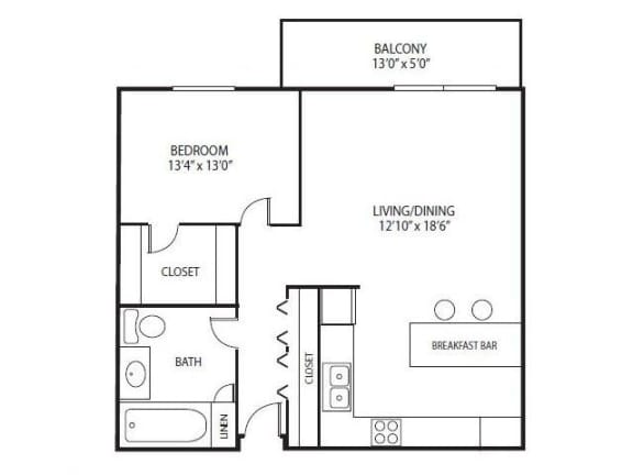 Floor Plan  Cedars Lakeside Apartments in Little Canada, MN 1 Bedroom Apartment Redwood Floor Plan