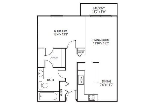 Floor Plan  Cedars Lakeside Apartments in Little Canada, MN 1 Bedroom Apartment Ridge Floor Plan