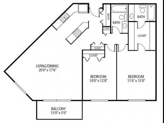 Floor Plan  Cedars Lakeside Apartments in Little Canada, MN 2 Bedroom Apartment Royal Oak Floor Plan